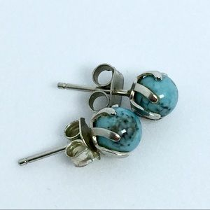 Vintage Real Turquoise Post Silver Earrings